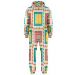 Pastel Squares Pattern Hooded Jumpsuit (men)
