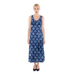 Scales1 Black Marble & Blue Marble Sleeveless Maxi Dress