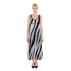 Skin3 Black Marble & Silver Brushed Metal (r) Sleeveless Maxi Dress