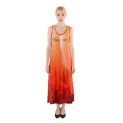 Floating Orange Full Print Maxi Dress