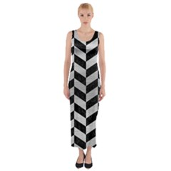 Chevron1 Black Marble & Silver Brushed Metal Fitted Maxi Dress