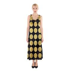 Circles1 Black Marble & Gold Brushed Metal Sleeveless Maxi Dress