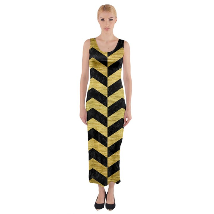 CHEVRON2 BLACK MARBLE & GOLD BRUSHED METAL Fitted Maxi Dress