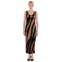 Skin3 Black Marble & Copper Brushed Metal Fitted Maxi Dress
