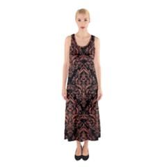 Damask1 Black Marble & Copper Brushed Metal Sleeveless Maxi Dress