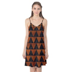 Triangle2 Black Marble & Brown Burl Wood Camis Nightgown  by trendistuff