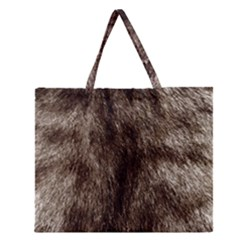 Black And White Silver Tiger Fur Zipper Large Tote Bag by timelessartoncanvas