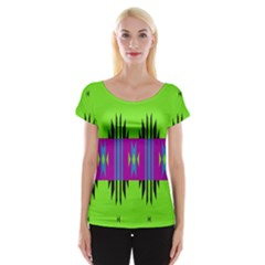 Tribal Shapes On A Green Background Women s Cap Sleeve Top by LalyLauraFLM