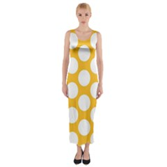 Sunny Yellow Polkadot Fitted Maxi Dress