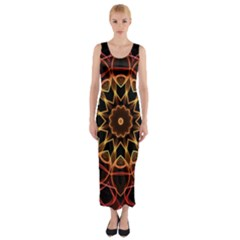 Yellow And Red Mandala Fitted Maxi Dress