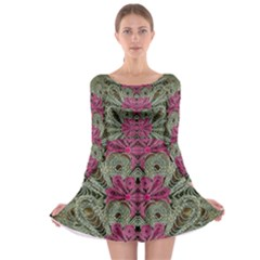 The Last Peacock In Metal Long Sleeve Skater Dress