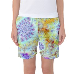 Golden Violet Sea Shells, Abstract Ocean Women s Basketball Shorts by DianeClancy