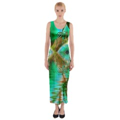 Spring Leaves, Abstract Crystal Flower Garden Fitted Maxi Dress