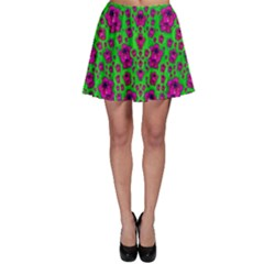 Fantasy Valentine In Floral Love And Peace Time Skater Skirt