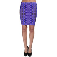 Blue Black Geometric Pattern Bodycon Skirts by BrightVibesDesign