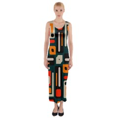 Shapes In Retro Colors Texture                   Fitted Maxi Dress