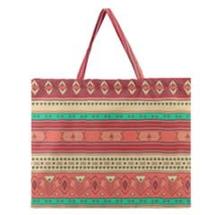 Hand Drawn Ethnic Shapes Pattern Zipper Large Tote Bag by TastefulDesigns