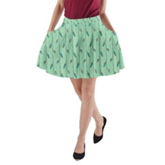 Seamless Lines And Feathers Pattern A Line Pocket Skirt by TastefulDesigns