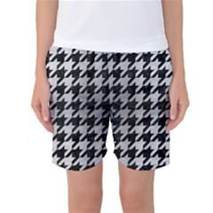Houndstooth1 Black Marble & Silver Brushed Metal Women s Basketball Shorts by trendistuff