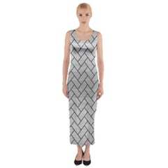 Brick2 Black Marble & Silver Brushed Metal (r) Fitted Maxi Dress