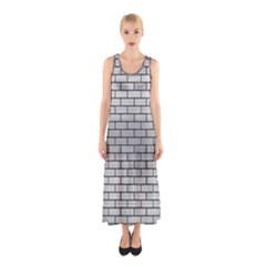 Brick1 Black Marble & Silver Brushed Metal (r) Sleeveless Maxi Dress