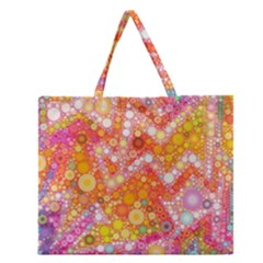Sunshine Bubbles Zipper Large Tote Bag by KirstenStar