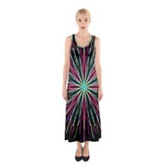 Pink Turquoise Black Star Kaleidoscope Flower Mandala Art Sleeveless Maxi Dress