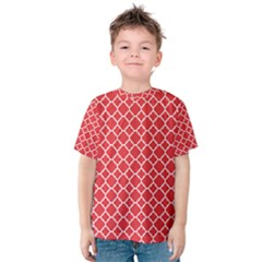 Red White Quatrefoil Classic Pattern Kid s Cotton Tee