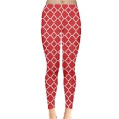 Red White Quatrefoil Classic Pattern Winter Leggings