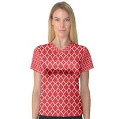Poppy Red Quatrefoil Pattern Women s V Neck Sport Mesh Tee