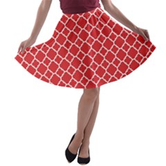 Poppy Red Quatrefoil Pattern A Line Skater Skirt