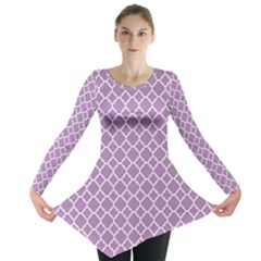 Purple Lilac White Quatrefoil Classic Pattern Long Sleeve Tunic