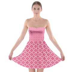 Soft Pink Quatrefoil Pattern Strapless Bra Top Dress