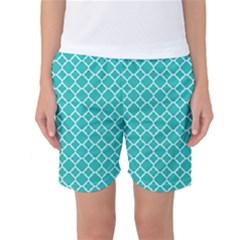 Turquoise Quatrefoil Pattern Women s Basketball Shorts