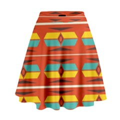 Shapes In Retro Colors Pattern                          High Waist Skirt