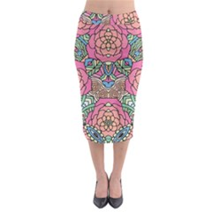 Petals, Carnival, Bold Flower Design Midi Pencil Skirt by Zandiepants