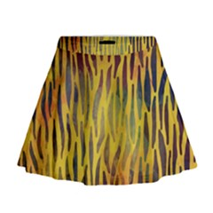 Colored Tiger Texture Background Mini Flare Skirt by TastefulDesigns
