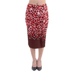 Red Glitter Rain Midi Pencil Skirt by KirstenStar