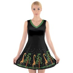 Retro Giraffe   Green Trim V Neck Sleeveless Dress