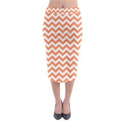 Tangerine Orange & White Zigzag Pattern Midi Pencil Skirt by Zandiepants