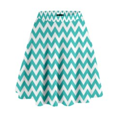 Turquoise & White Zigzag Pattern High Waist Skirt