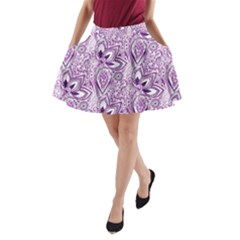 Purple Paisley Doodle A Line Pocket Skirt by KirstenStar