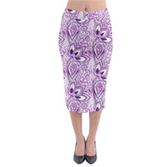 Purple Paisley Doodle Midi Pencil Skirt by KirstenStar
