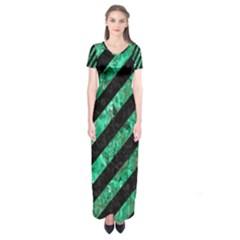 Stripes3 Black Marble & Green Marble Short Sleeve Maxi Dress