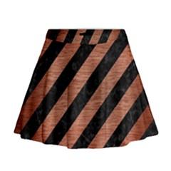 Stripes3 Black Marble & Copper Brushed Metal Mini Flare Skirt