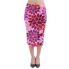 Rose Quartz Flowers Midi Pencil Skirt by KirstenStar