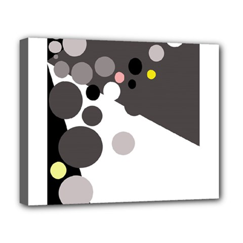 Gray, yellow and pink dots Deluxe Canvas 20  x 16   by Valentinaart