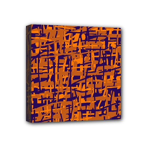 Blue and orange decorative pattern Mini Canvas 4  x 4  by Valentinaart