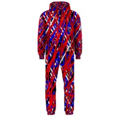 Red And Blue Pattern Hooded Jumpsuit (men)  by Valentinaart