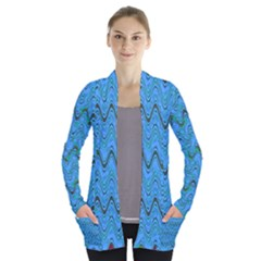 Blue Wavy Squiggles Women s Open Front Pockets Cardigan(p194) by BrightVibesDesign